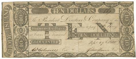 Farmers Exchange Bank $10 note 1808