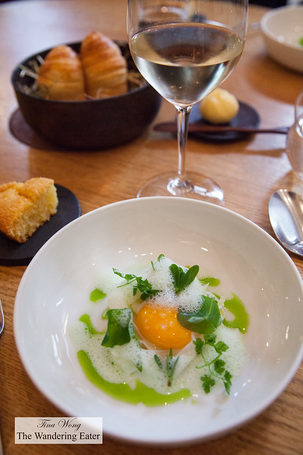Egg, young garlic, verbena; background of housemade corn bread (left) and homemade brioche and Sancerre wine pairing