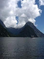 Milford Sound. Mitre Peak and the fjord and its waterfalls.