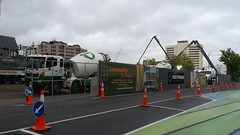 Concrete mixers pour new Central Library foundations
