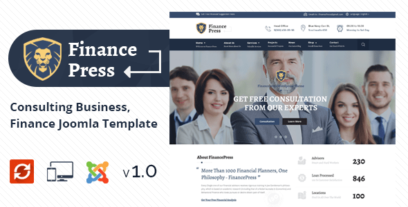 Finance Press v1.0 - Consulting Business, Finance Joomla Template