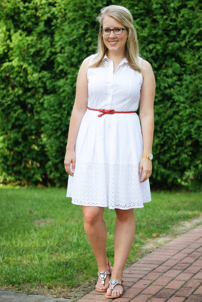 Ann Taylor Sleeveless Eyelet Shirtdress