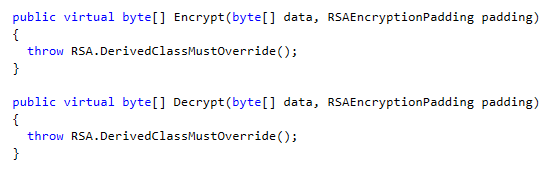 Encrypt and Decrypt methods in .NET C# RSA Class