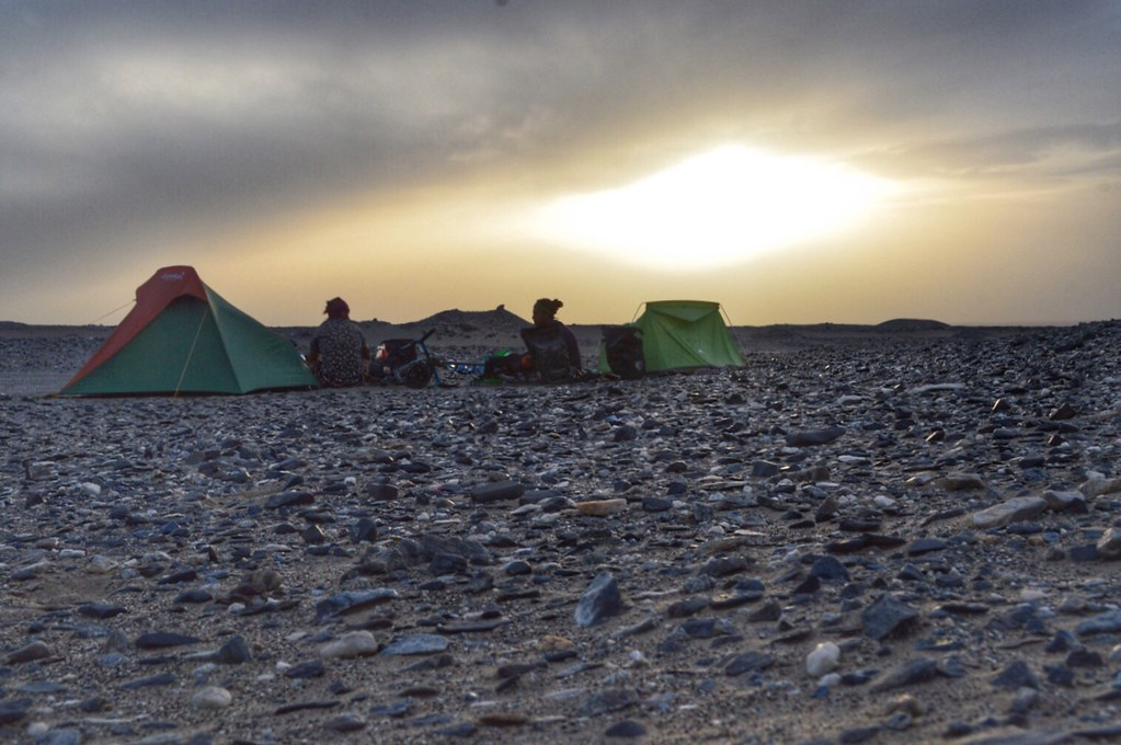 Camping at sunset in the desert
