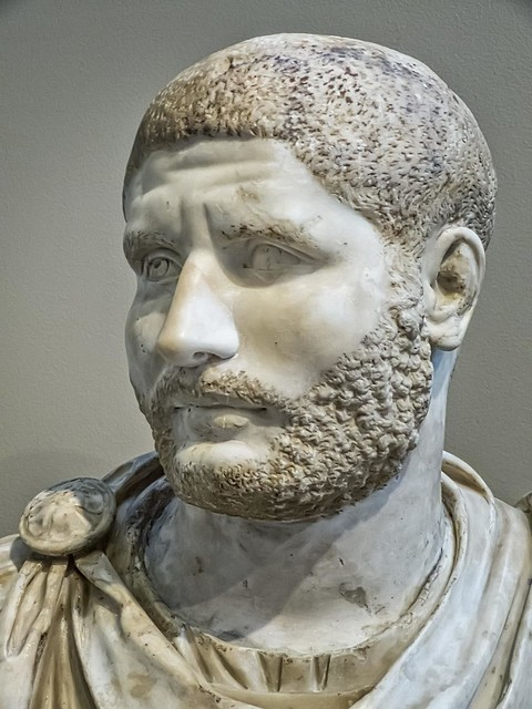 Portrait of a Roman Man in the style of Caracalla Late Imperial Period 230-240 CE Marble