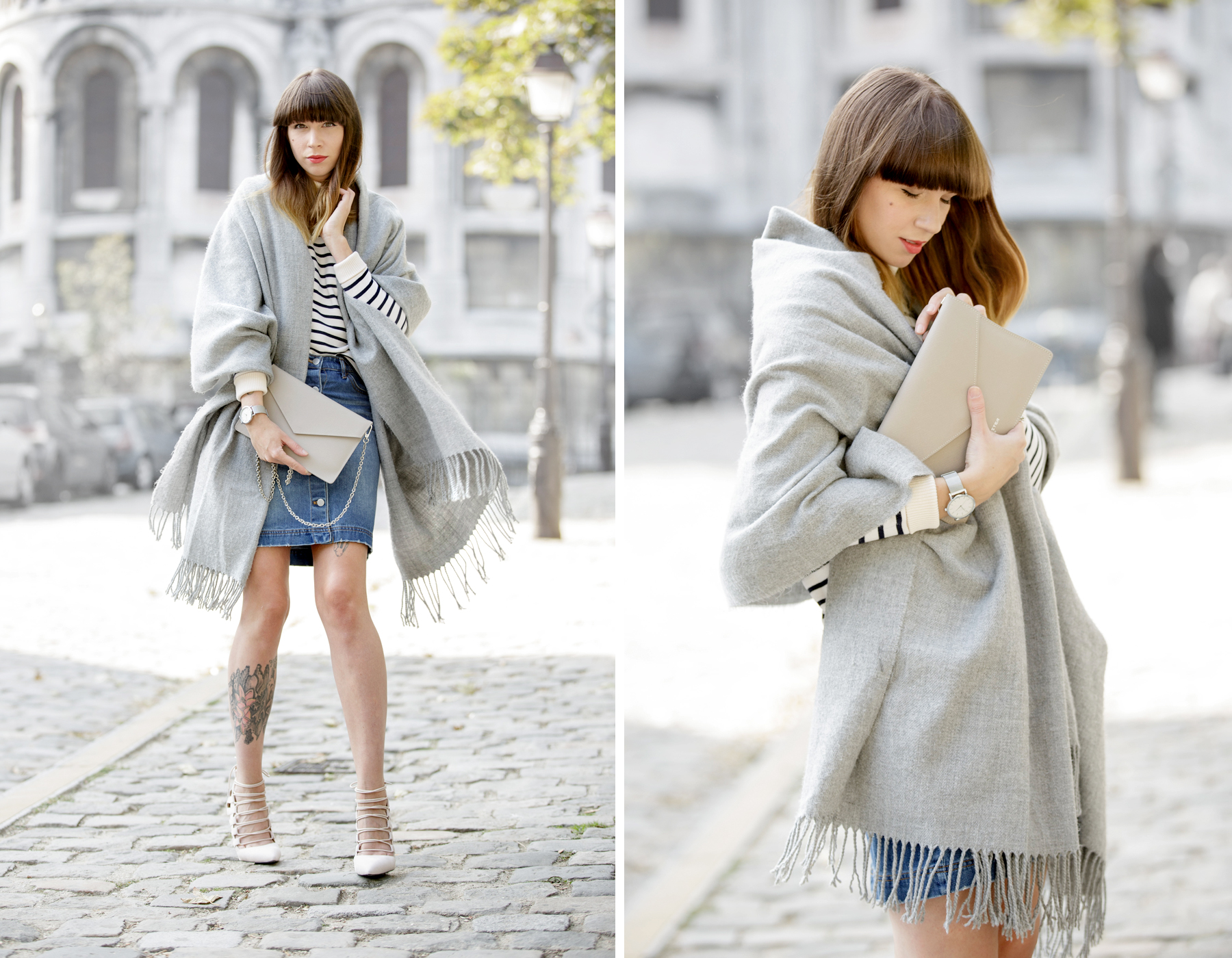 outfit ootd denim skirt grey scarf acne aquazzura high heels strappy montmartre sacre coeur paris streetstyle fashionblogger ricarda schernus cats & dogs blog pfw 2
