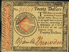 Lot 19075 Continental Currency January 14, 1779 $20 front