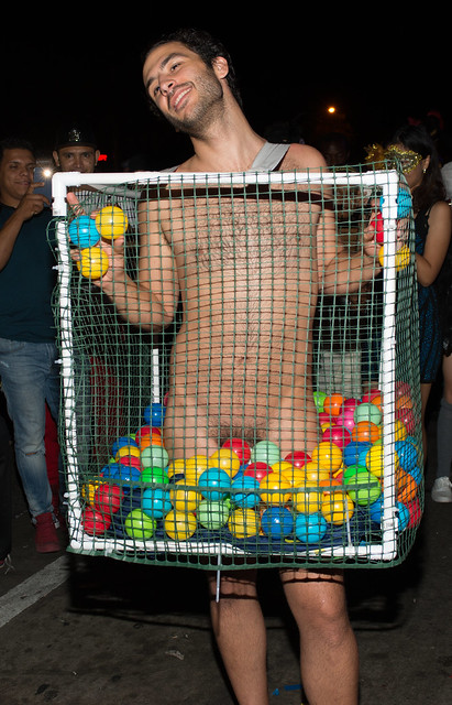 Naked Guy In Ball Pit Front Halloween West Hollywood 2015