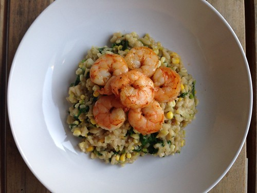 Sweet Corn Risotto with Roasted Shrimp