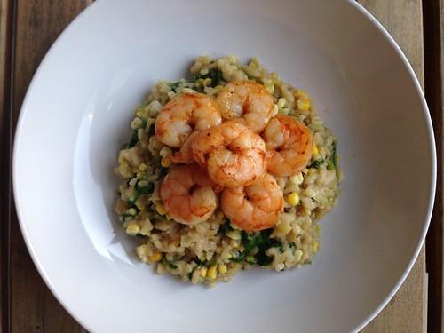 Shrimp and corn risotto