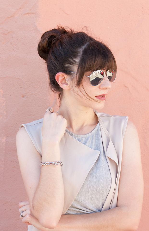 Summer Layers, Tan Vest, Grey Dress, Mirrored Sunnies