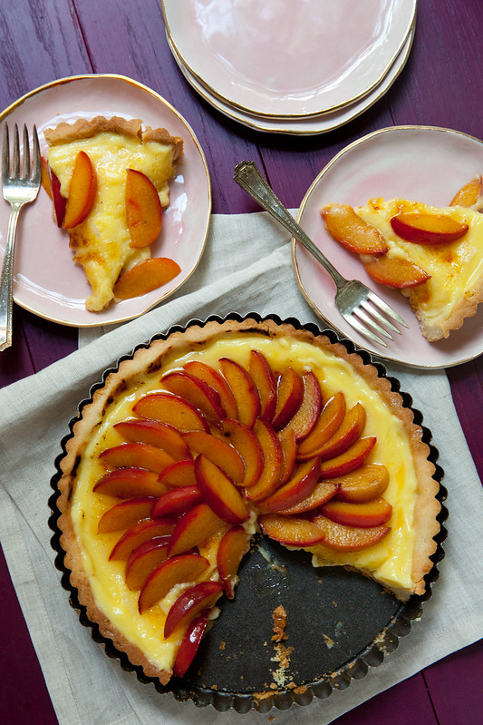 Brûléed Buttermilk Tart with Roasted Plums