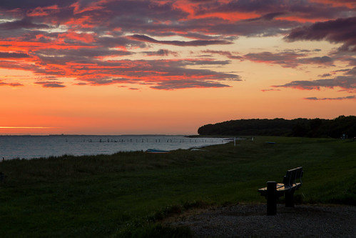 sunset sea sky beach bench landscape denmark coast seaside outdoor shore lolland maglehoej