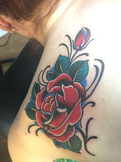 Rose Tattoo by KeelHauled Mike of Black Anchor Tattoo in Denton Maryland