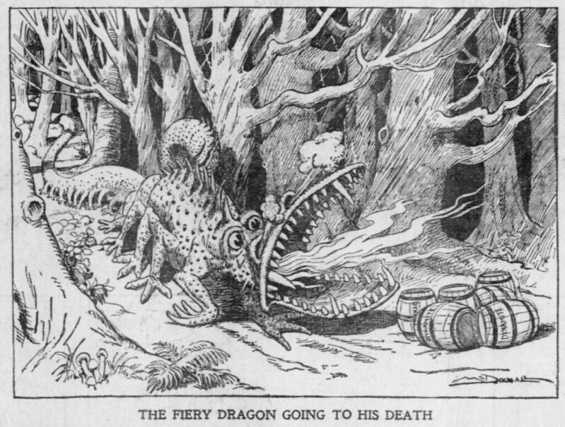 Walt McDougall - The Salt Lake herald., April 20, 1902, The Fiery Dragon Going To His Death