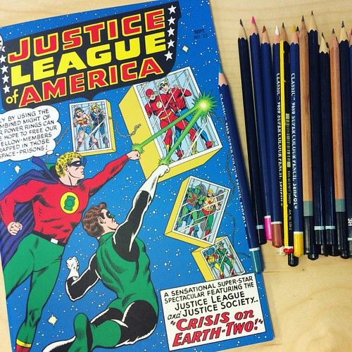 My new sketchbook for the office has some Justice League charisma to inspire me. #justiceleague #sketchbook #mydesk
