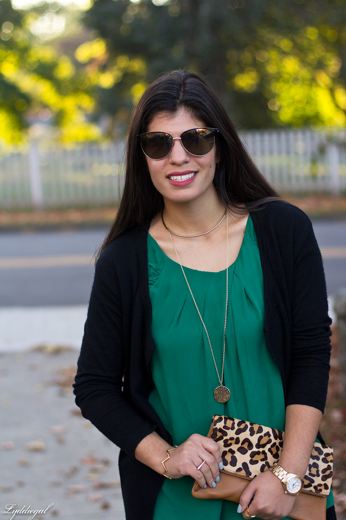 green silk blouse, black cardigan, leopard clutch-6.jpg