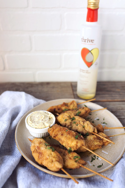 Grain-free Crispy Chicken Skewers with Mustard Aioli