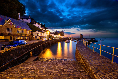 uk houses sunset port nikon devon d750 bluehour lynmouth alexring