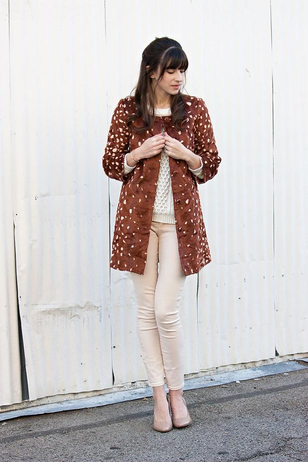 Maison Jules Coat, Deer Print Topper, Cable Knit Sweater, Peach Jeans
