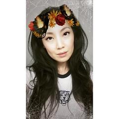 Yay for #snapchat Halloween costumes. 👻😂  #flowercrown #emo #edgy #cobwebs #longhair #motd #asian #chinese #mane #cheekbones