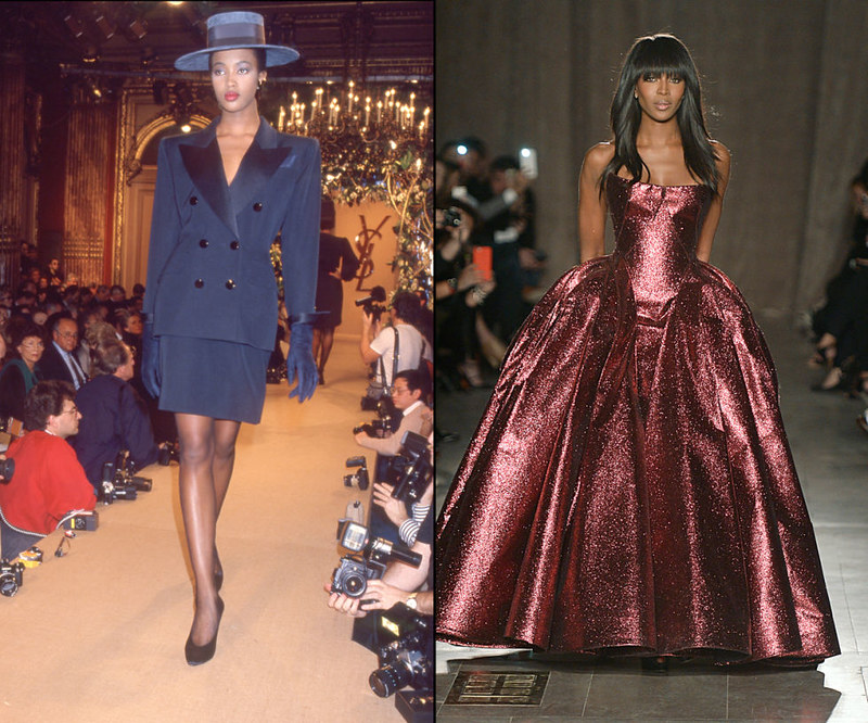 NAOMI CAMPBELL - At the Yves Saint Laurent Spring/Summer 1988 presentation in 1987, and closing the Zac Posen Fall/Winter 2015 show.