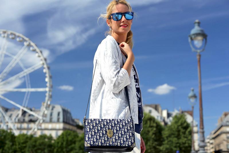 sac-dior-vintage-logo-blanc-bleu