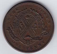 1839 Bank of Montreal side view token reverse