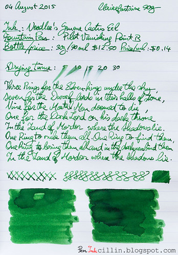 Noodler's Gruene Cactus Eel on Clairefontaine