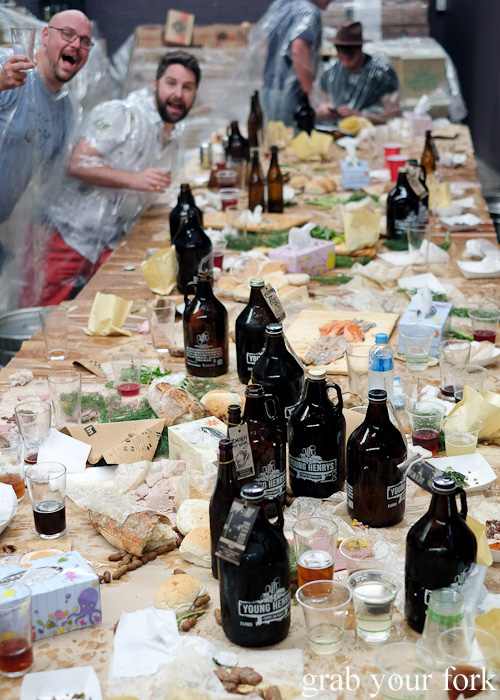 Post-food fight damage at the Feral Party by Pinbone at Young Henrys for Good Food Month 2015