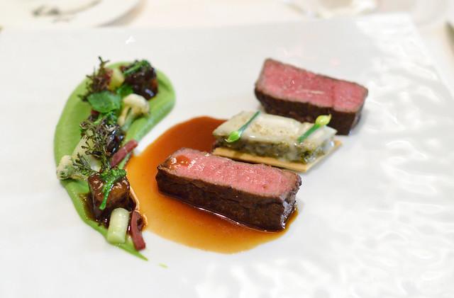 "BOEUF Duo of Beef Imperial Wagyu Tenderloin, Charred Broccolini ""Quiche"", Black Angus Short Ribs, Broccoli Rabe, Gorgonzola Dulce, Bresaola, ""Bordelaise Jus"""