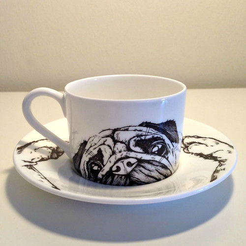 Cut Paper Pug Illustration on Ceramic Cup