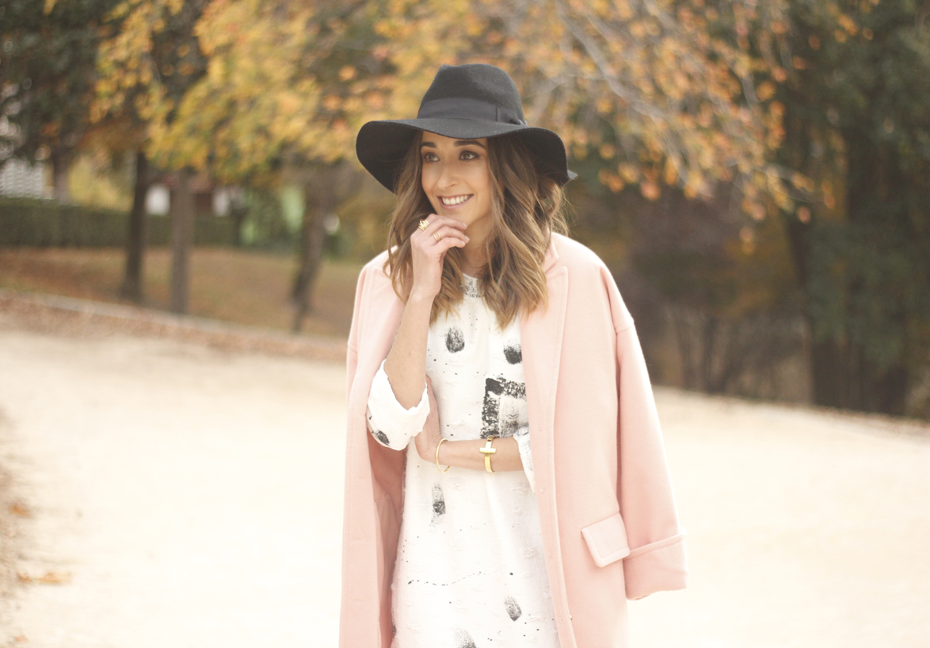 Black and White Dress Pink Coat Black Hat outfit style over the knees boots24