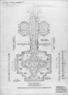 New Centre Block, Parliament Buildings, Ottawa showing the floor plan of the memorial chamber and anteroom with details / Le nouvel édifice du Centre du Parlement, à Ottawa; plan d'étage détaillé de la Chapelle du Souvenir et de l'antichambre