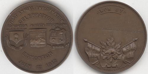 1912 Edmonton amalgamation celebration medal