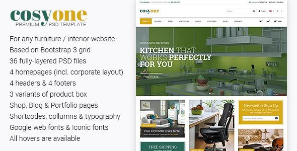 Themeforest CosyOne v1.0 – Premium Furniture/Interior PSD Template