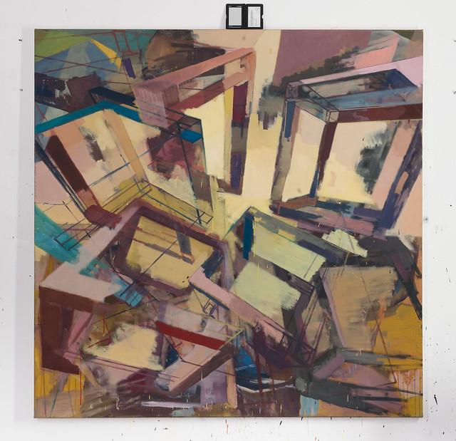 Compton-Streuung, 180 x 180 cm, Eggtempera/Oil on muslin, 2016