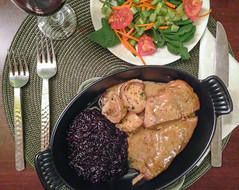 Rabbit in Mustard Cream Sauce with Black Rice with…