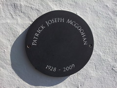 Photo of Patrick McGoohan slate plaque