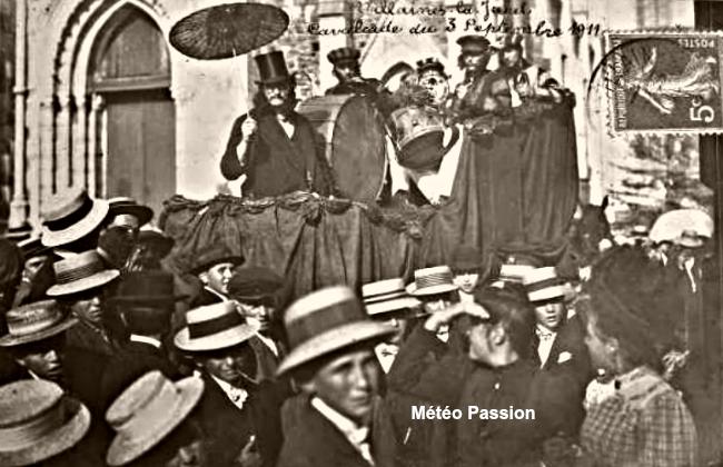 soleil et chaleur pour la cavalcade de Villaines-la-Juhel le 3 septembre 1911 météopassion
