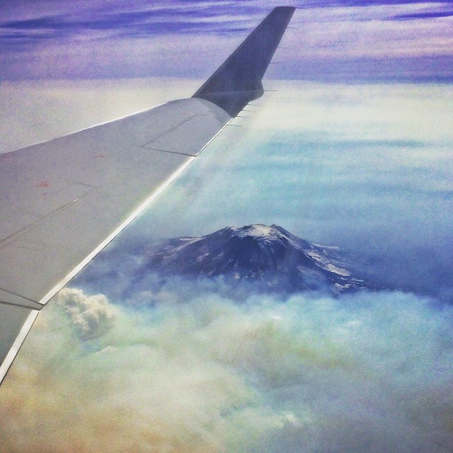flying over Mount Hood