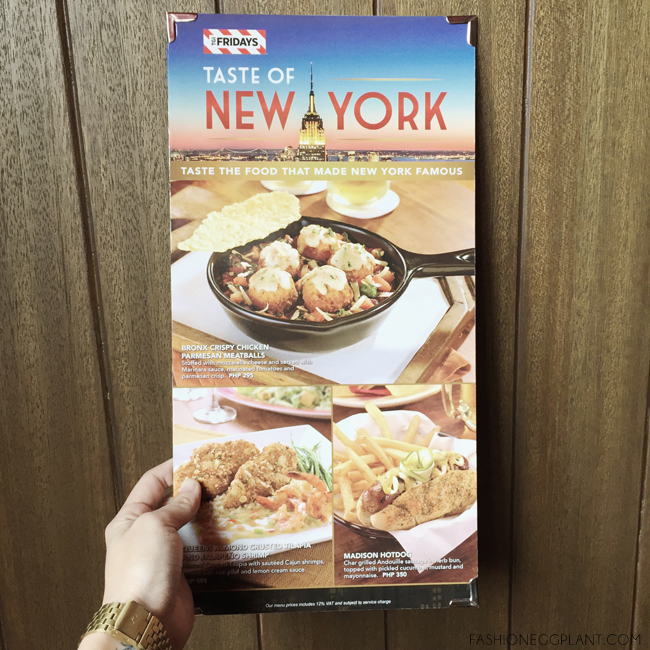 FRIDAYS TASTE OF NEW YORK MENU