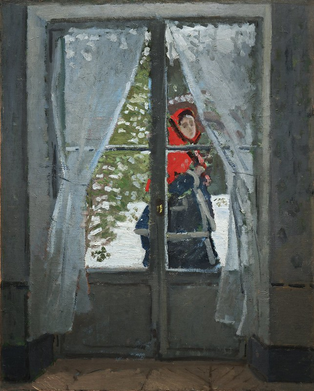 Claude Monet - The Red Kerchief, Portrait of Mrs. Monet (1873)