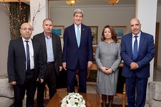 Secretary Kerry Stands with Members of the Nobel Peace Prize-winning Quartet Before Meeting in Tunis