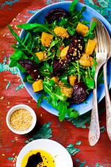 vegetable salad with pumpkin, beet, arugula .