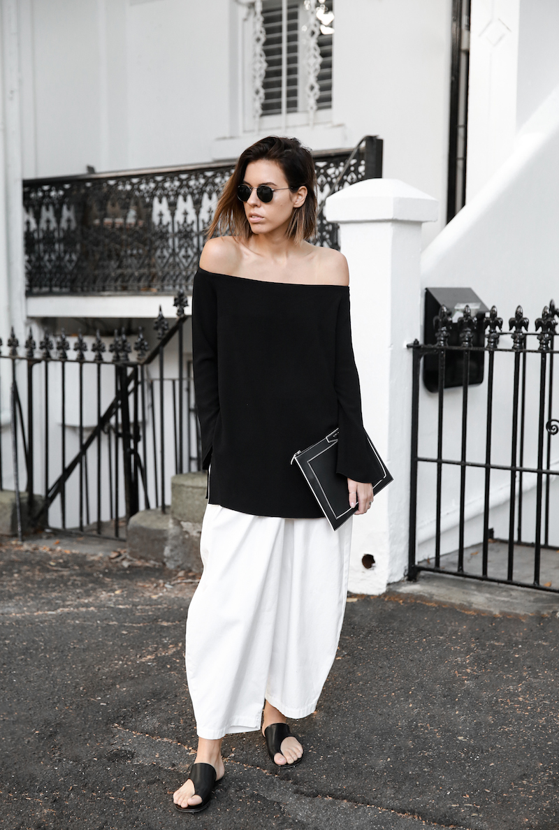 off shoulder top Ellery Queenie monochrome street style inspo black white Bassike pants ATP Rosa sandals Givenchy clutch resort off duty (1 of 11)