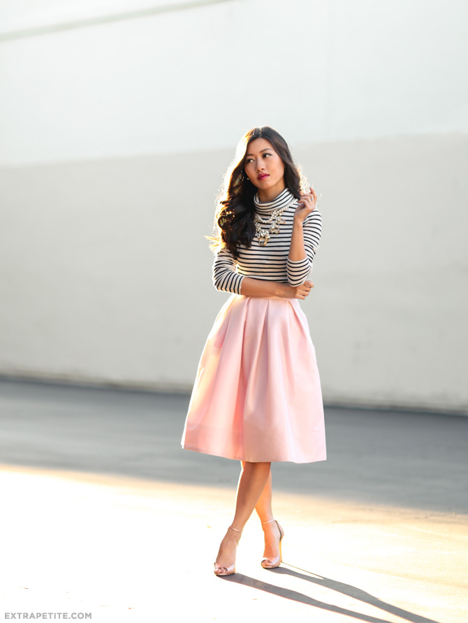 WHBM petite full skirt jcrew stripe tee party outfit