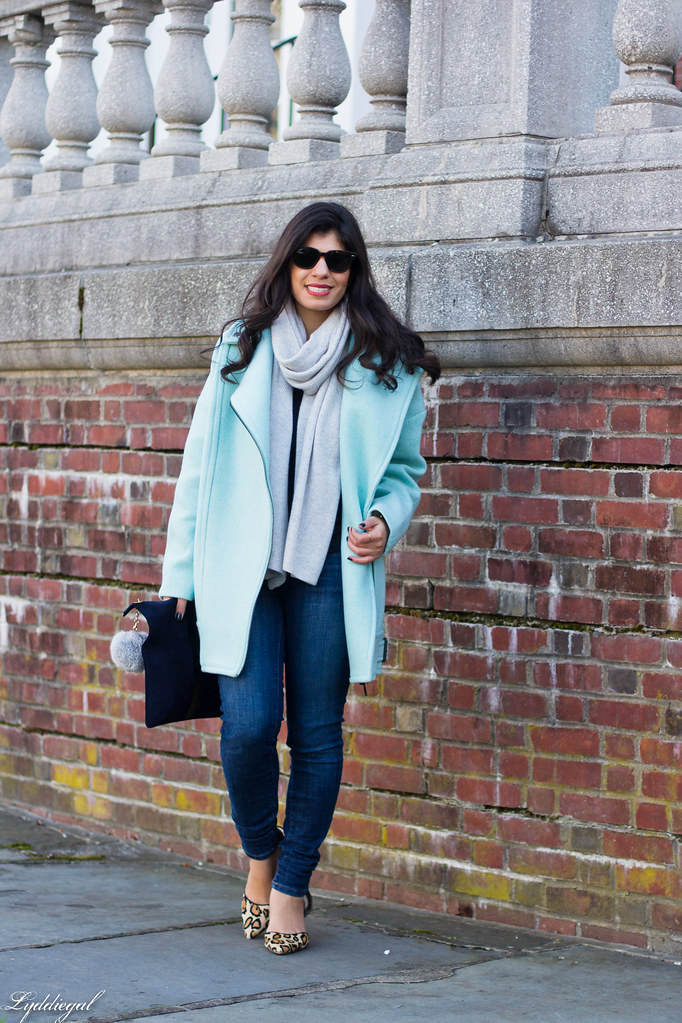 mint cocoon coat, grey scarf, leopard pumps-3.jpg
