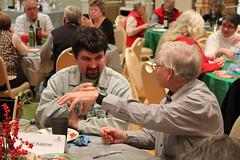 Meeting of great minds. Daniel Keener and Charlie Dubay. Photo by George Reiske.