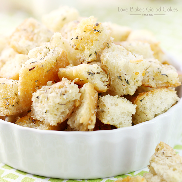 It's so easy to make your own croutons - and they taste better than store-bought too! These Garlic & Parmesan Croutons are great on top of salads or soup and they make an easy snack!
